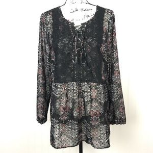 Maurices Sheer Black Floral Peasant Top Lace Front
